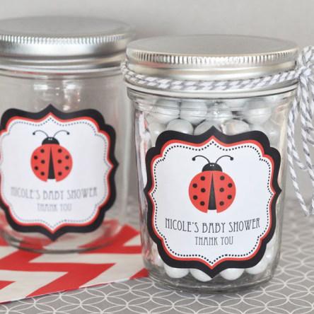 Ladybug Personalized Mini Mason Jars
