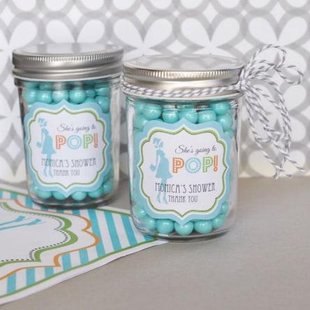 Going To Pop Blue Personalized Mini Mason Jars