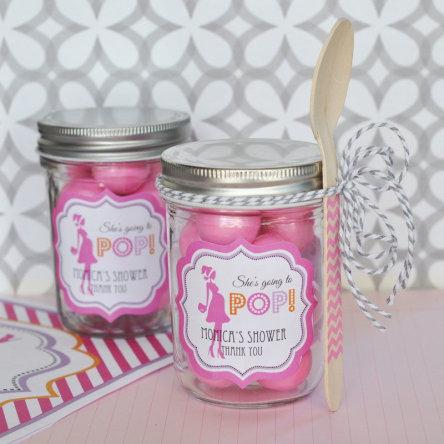 Going To Pop Pink Personalized Mini Mason Jars