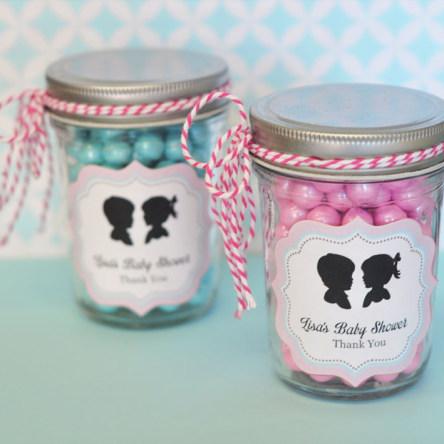 Gender Reveal Party Personalized Mini Mason Jars