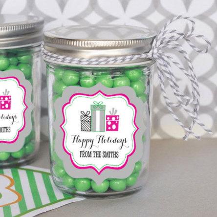 Personalized Holiday Party Mini Mason Jars
