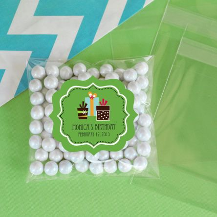 Personalized Birthday Clear Candy Bags Set Of 24