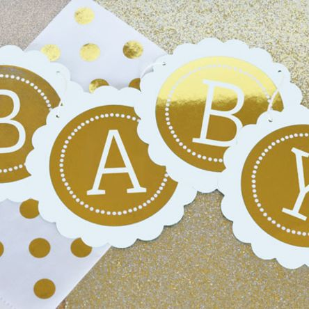 Personalized Metallic Foil Scallop Banner Baby
