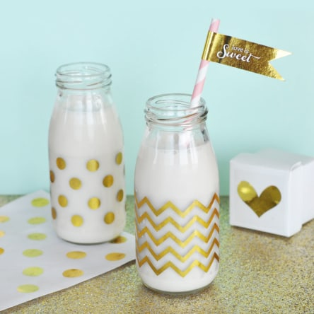 Chevron & Dots Gold Foil Milk Bottle Labels Set Of 12