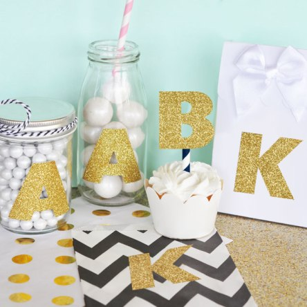Gold Glitter Monogram Stickers Set Of 24