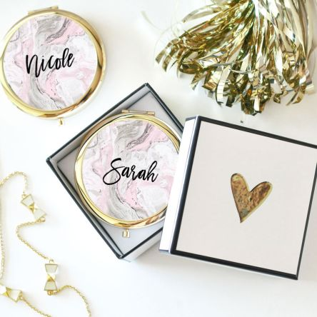 Personalized Pink Marble Compacts