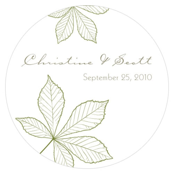 Autumn Leaf Large Sticker Willow Green