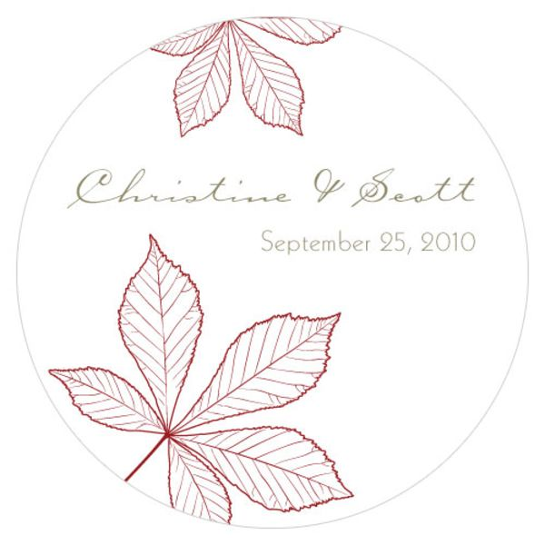Autumn Leaf Large Sticker Ruby