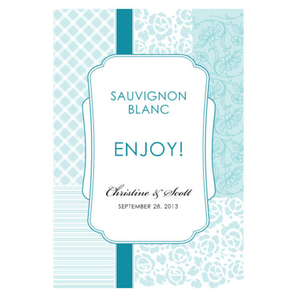 Eclectic Patterns Wine Label Sea Blue