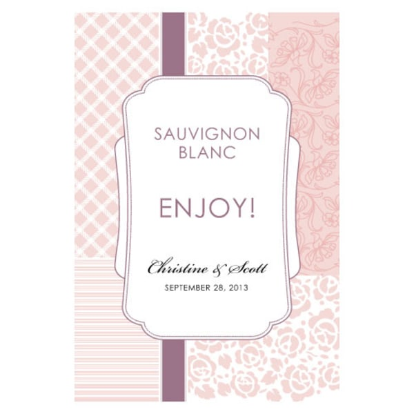 Eclectic Patterns Wine Label Vintage Pink