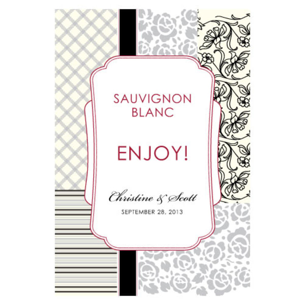 Eclectic Patterns Wine Label Classical Green
