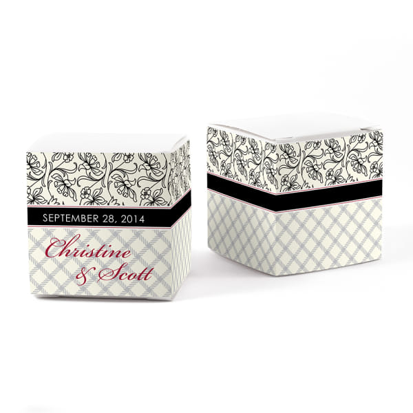 Eclectic Pattern Cube Favor Box Wrap Mocha Mousse