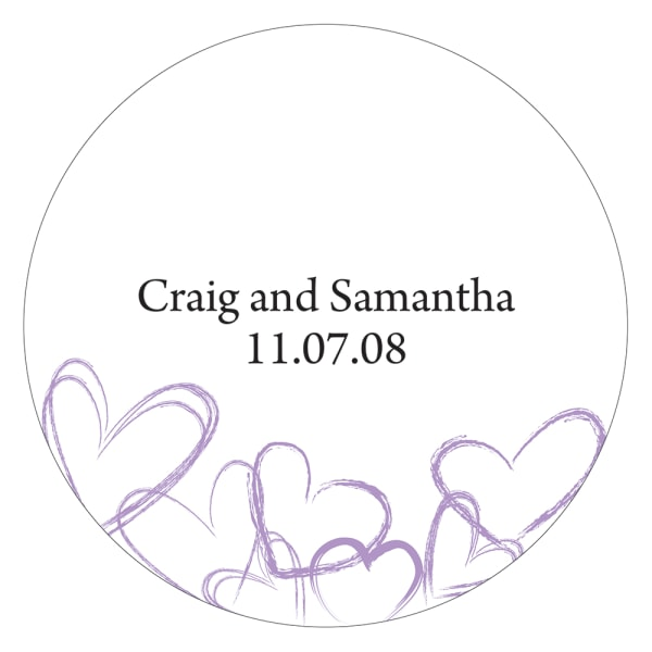 Contemporary Hearts Large Sticker Lavender