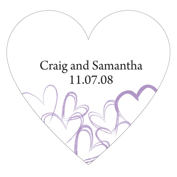 Contemporary Hearts Heart Sticker Lavender