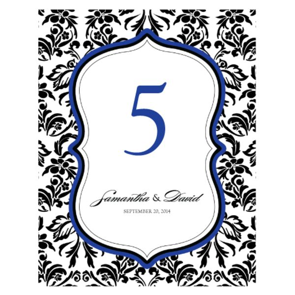 Love Bird Damask Table Number Numbers 85-96 Royal Blue And Black