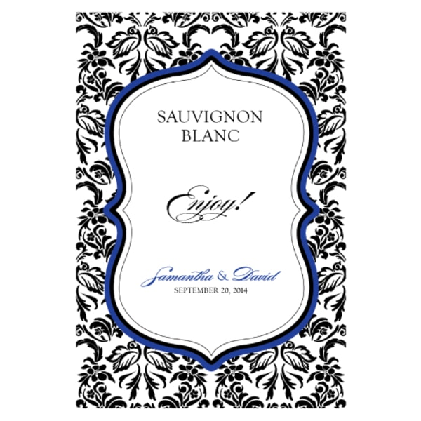 Love Bird Damask Wine Label Royal Blue And Black