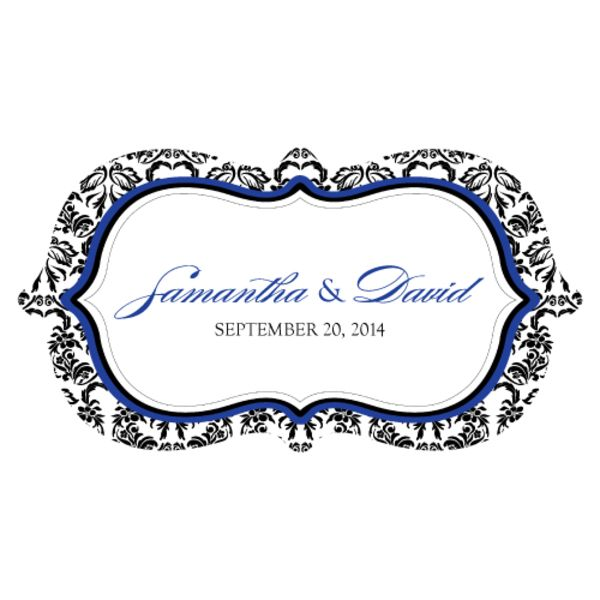 Love Bird Damask Small Cling Royal Blue And Black