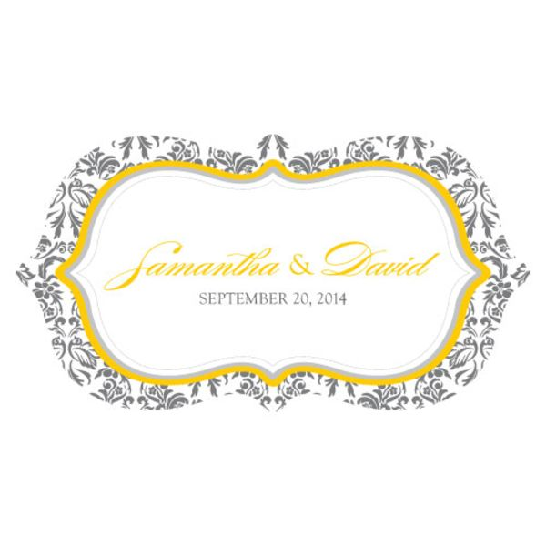 Love Bird Damask Large Cling Saffron Yellow And Pewter Grey