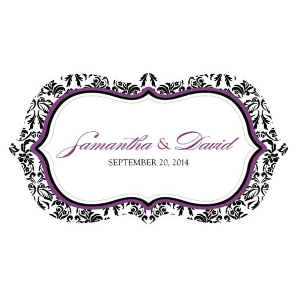 Love Bird Damask Large Cling Plum And Black