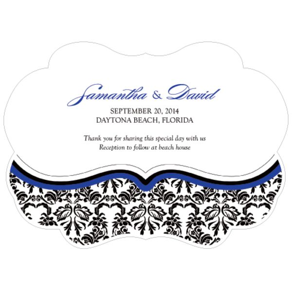 Love Bird Damask Personalized Hand Fan Royal Blue And Black