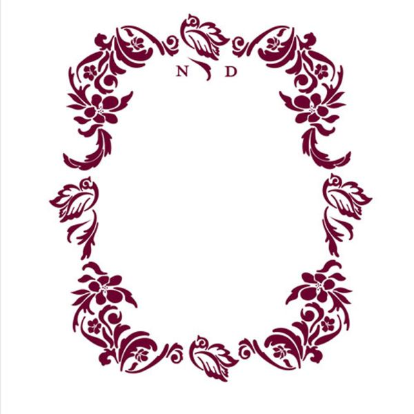 Love Bird Damask Monogram Personalized Photo Backdrop Plum