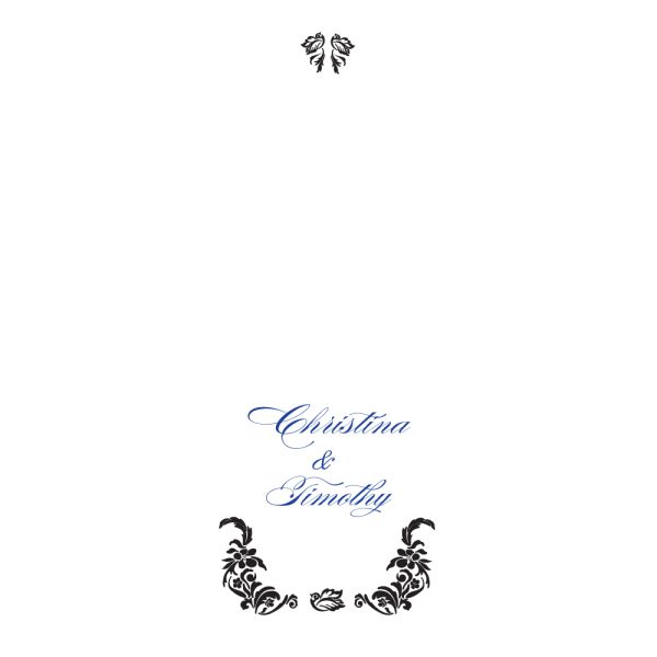 Love Bird Damask Personalized Aisle Runner White With Hearts Royal Blue