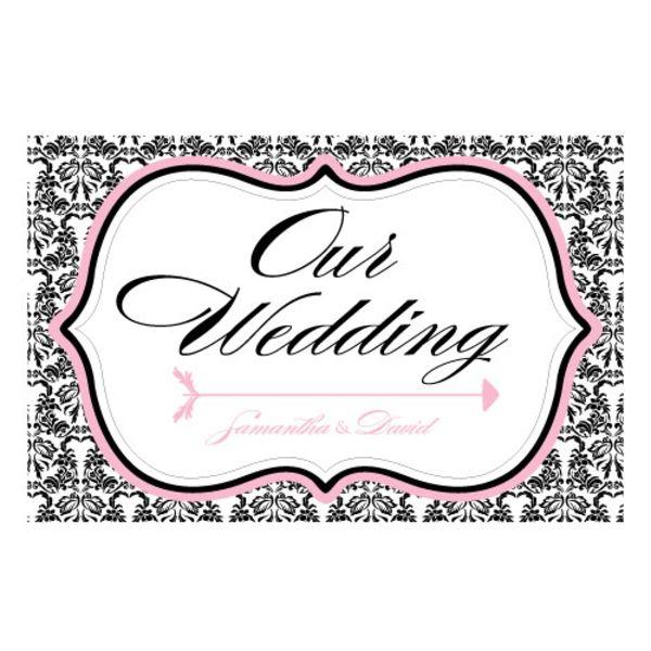 Love Bird Damask Wedding Directional Sign