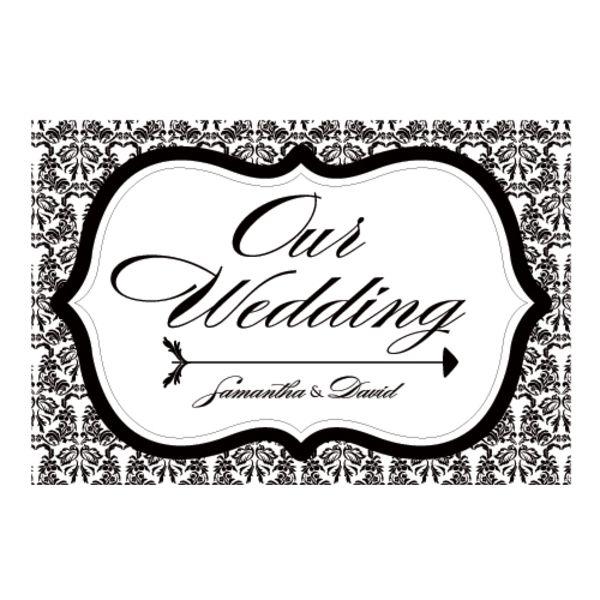 Love Bird Damask Wedding Directional Sign Pastel Pink