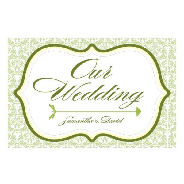 Love Bird Damask Wedding Directional Sign Black