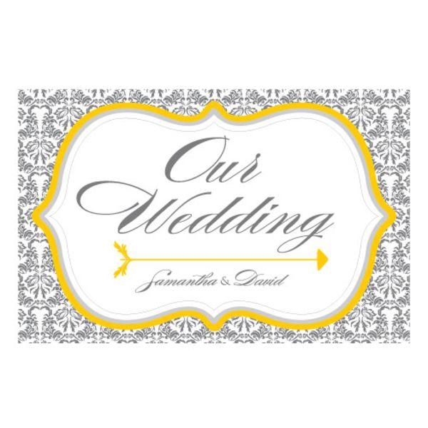 Love Bird Damask Wedding Directional Sign Willow Green