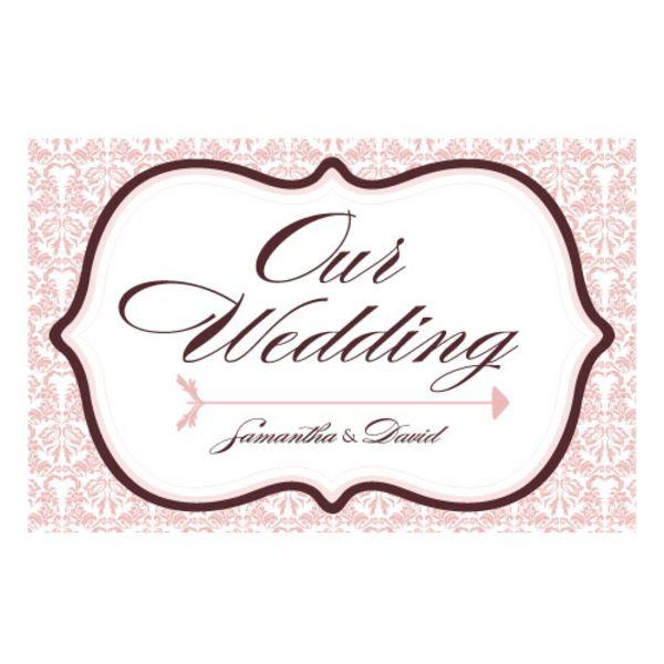 Love Bird Damask Wedding Directional Sign Oasis Blue