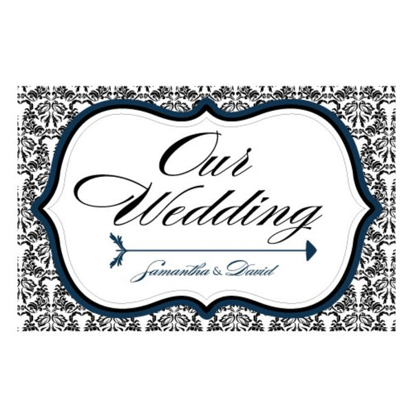Love Bird Damask Wedding Directional Sign Fuchsia