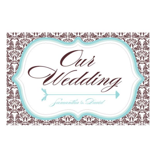 Love Bird Damask Wedding Directional Sign Navy Blue