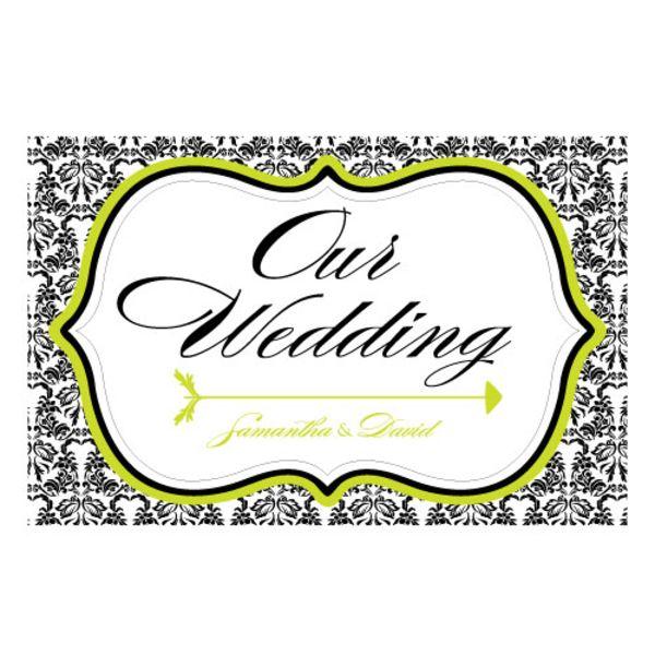 Love Bird Damask Wedding Directional Sign Sea Blue