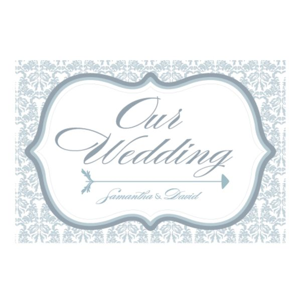 Love Bird Damask Wedding Directional Sign Candy Apple Green
