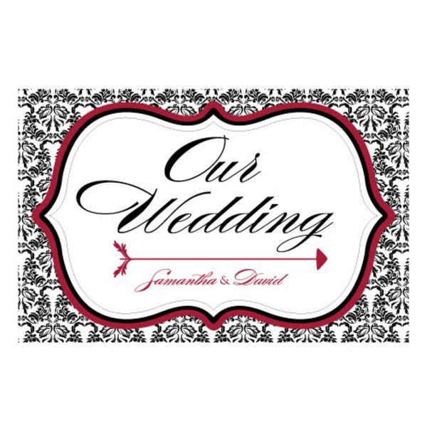 Love Bird Damask Wedding Directional Sign Powder Blue