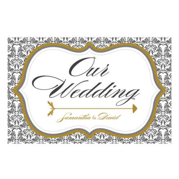 Love Bird Damask Wedding Directional Sign Ruby
