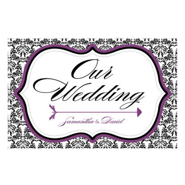 Love Bird Damask Wedding Directional Sign Vintage Gold