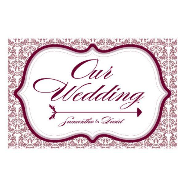 Love Bird Damask Wedding Directional Sign Plum