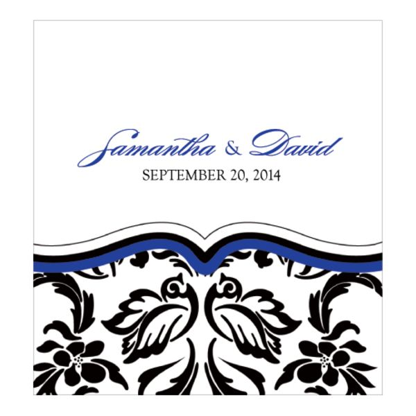 Love Bird Damask Candy Roll Wrap Royal Blue And Black