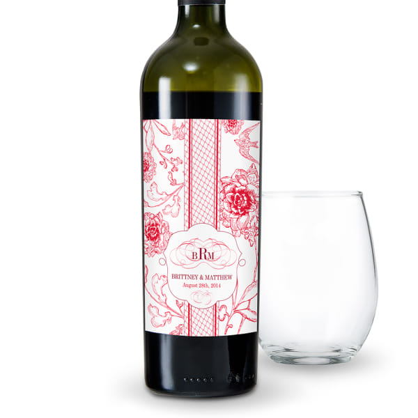 French Whimsy Wine Label Red