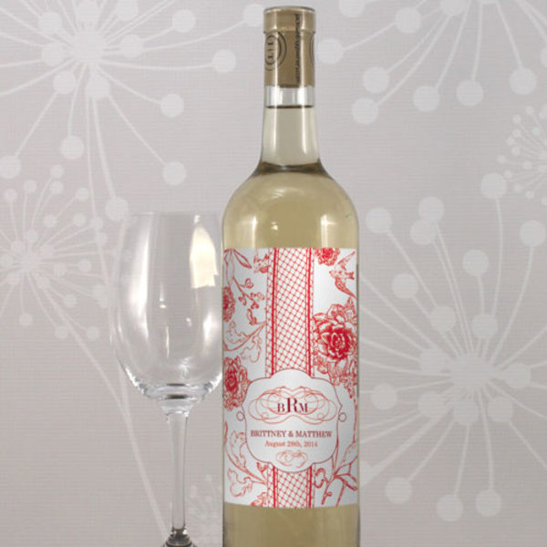 French Whimsy Wine Label Pastel Blue