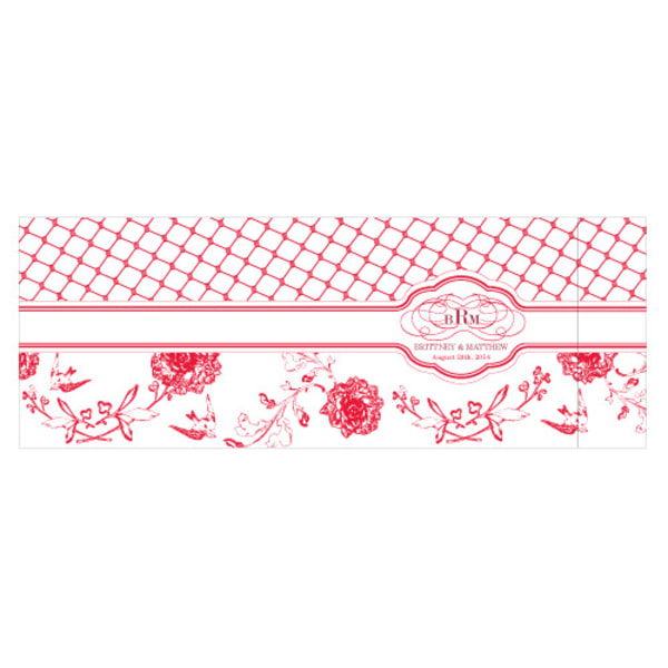 Floral and Trellis Notepad Wedding Favor Red