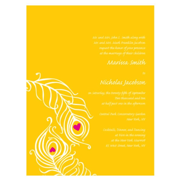 Perfect Peacock Invitation Lemon Yellow