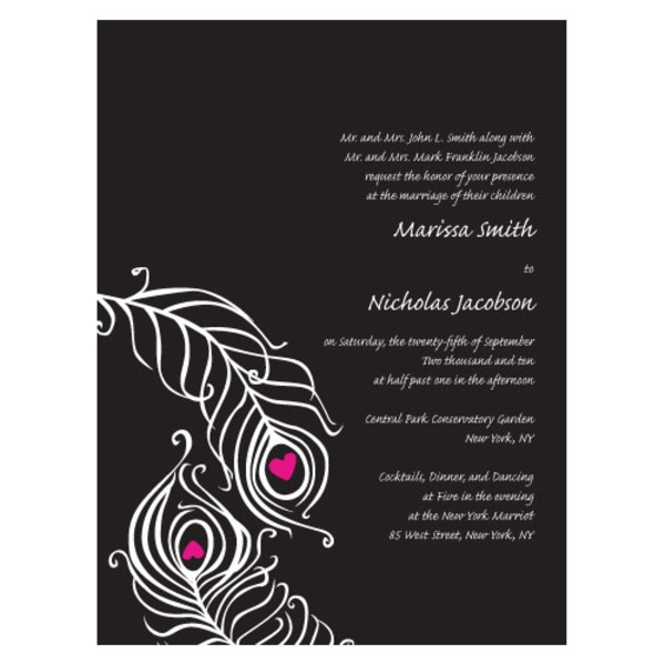 Perfect Peacock Invitation Black