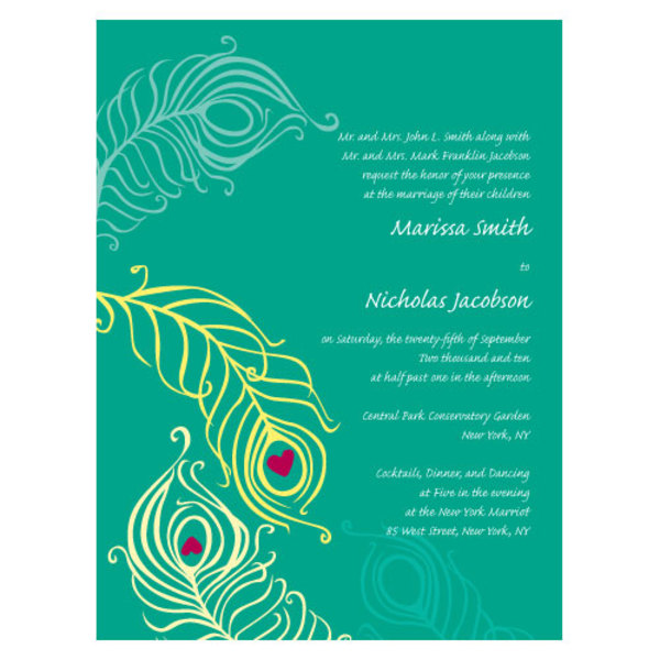 Perfect Peacock Invitation Luxe Peacock Green