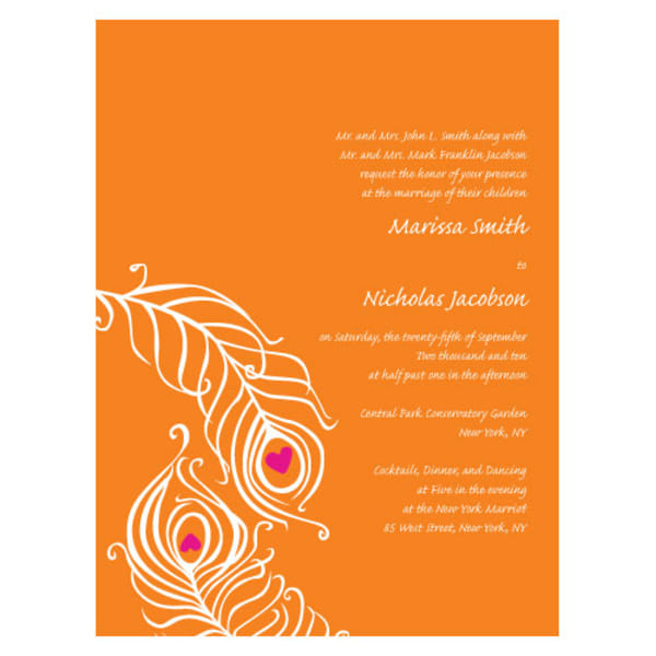 Perfect Peacock Invitation Tangerine Orange