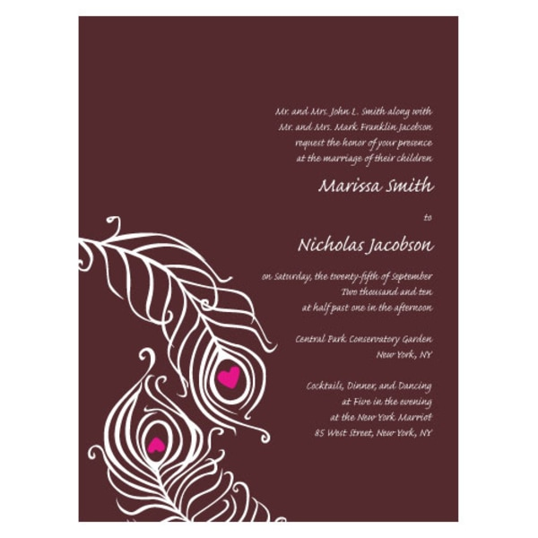 Perfect Peacock Invitation Chocolate Brown