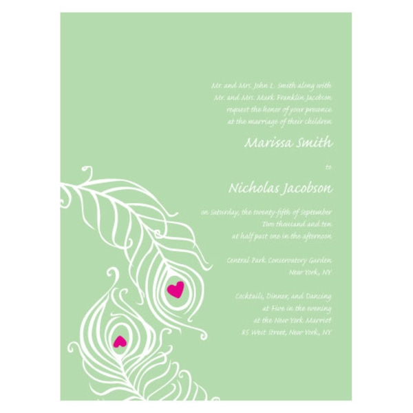 Perfect Peacock Invitation Daiquiri Green