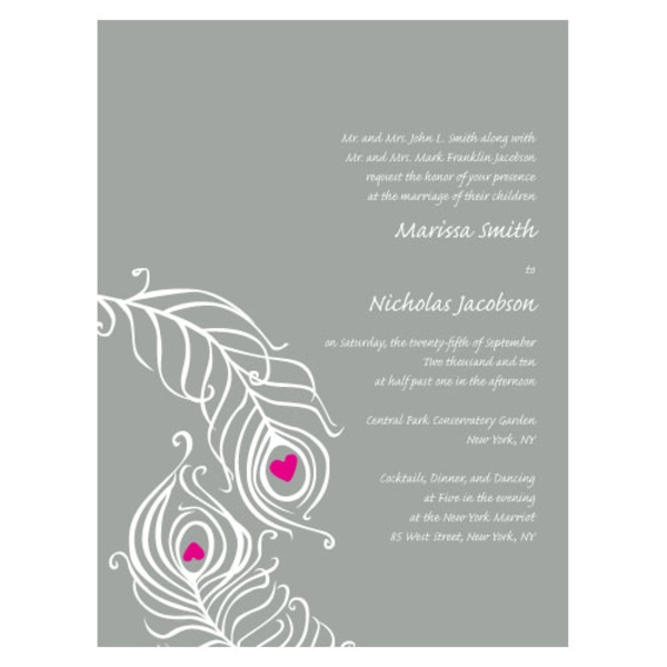 Perfect Peacock Invitation Pewter Grey